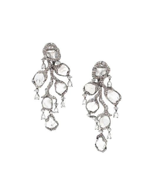 Saqqara | Metallic 18kt White Gold And Diamond 'flow' Earrings | Lyst