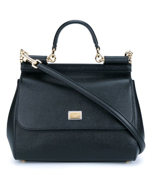 Dolce & Gabbana   Black Sicily Medium Textured-leather Tote   Lyst