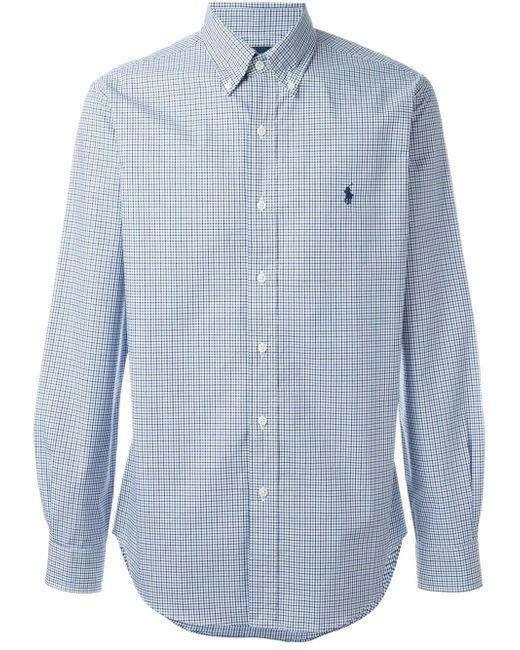Ralph Lauren | Blue Slim Fit Checked Poplin Shirt for Men | Lyst
