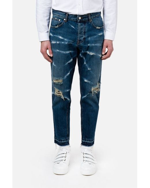 Ami Distressed Carrot Fit Jeans in Blue for Men  Lyst