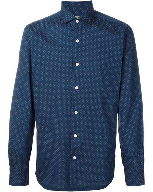 Barba Geometric Pattern Button Down Shirt In Blue For Men