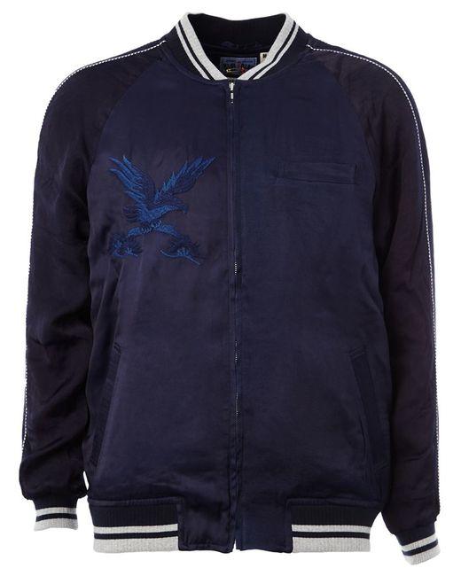 Blue japan embroidered bomber jacket in for men