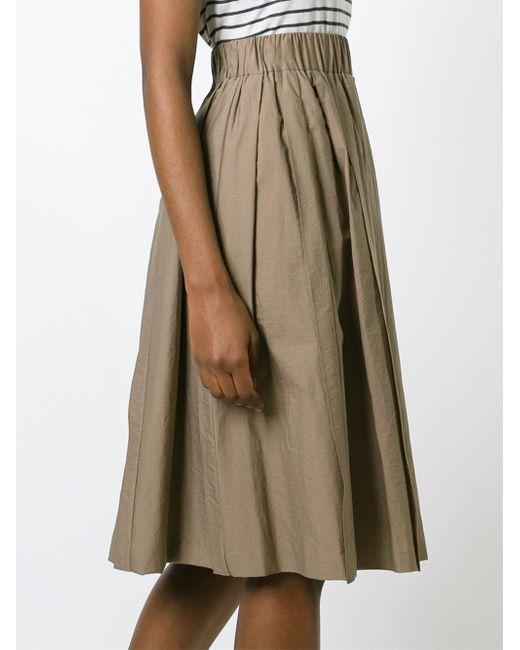 brunello cucinelli high waisted midi skirt in brown lyst