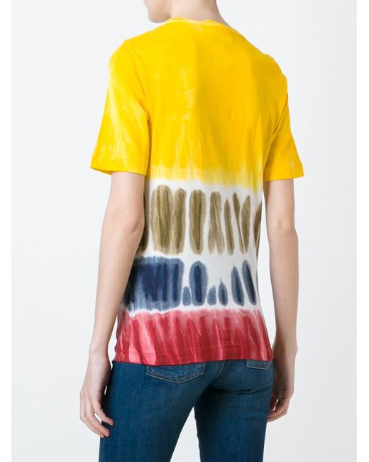 Dsquared tie dye print t shirt in black yellow orange for Tie dye t shirt printing
