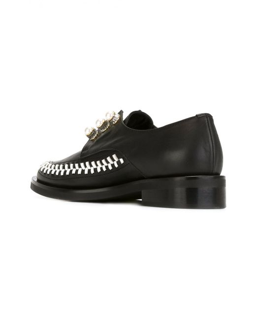 coliac pearl embellished derby shoes in black for lyst