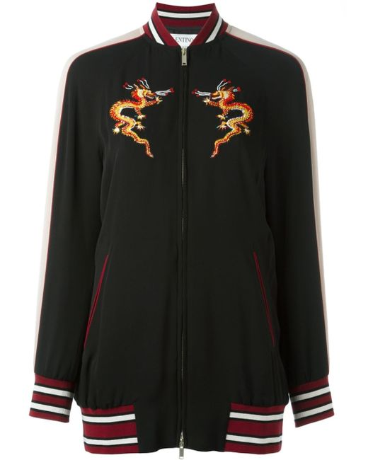 Valentino dragon embroidered bomber jacket in black lyst