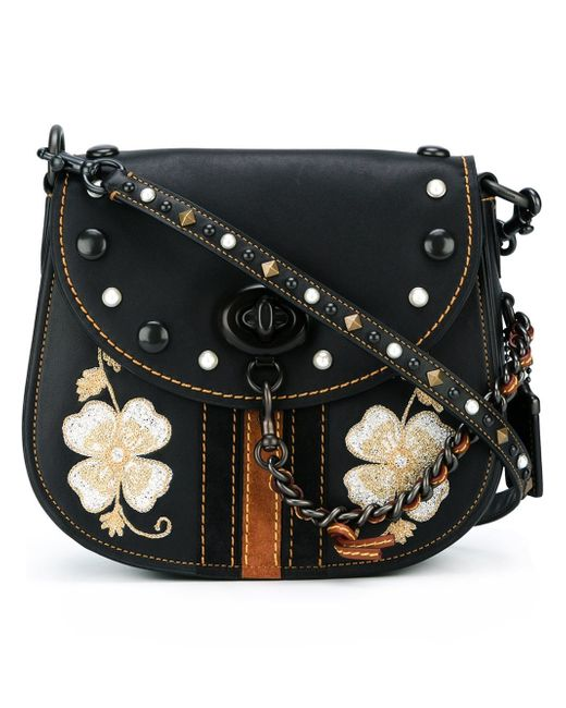 Coach Embroidered Flower Crossbody Bag In Black | Lyst