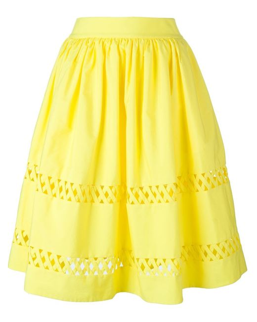 morina lattice trim a line skirt in yellow