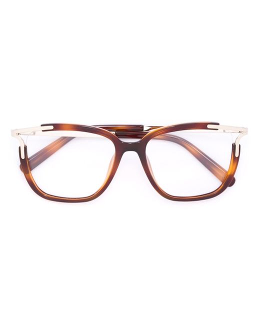 Chloe Square Frame Glasses in Brown Lyst