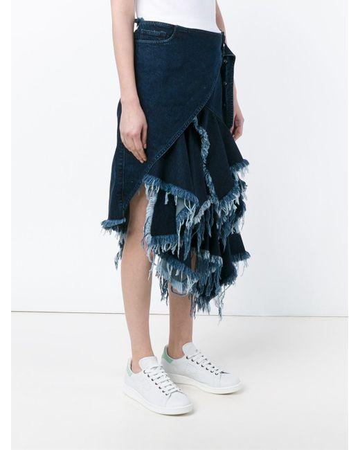 marques almeida asymmetric frayed denim midi skirt in blue