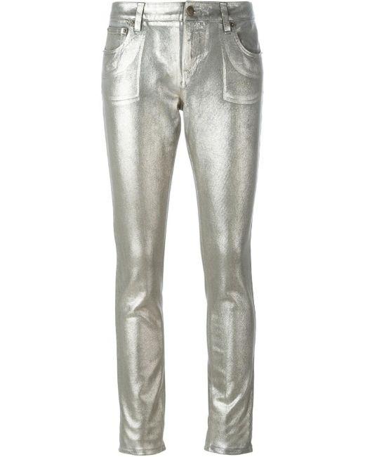 Roberto Cavalli | Metallic Mid-rise Skinny Jeans | Lyst