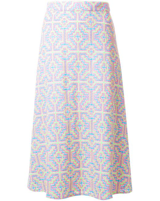 house of patterned a line skirt in gray lyst