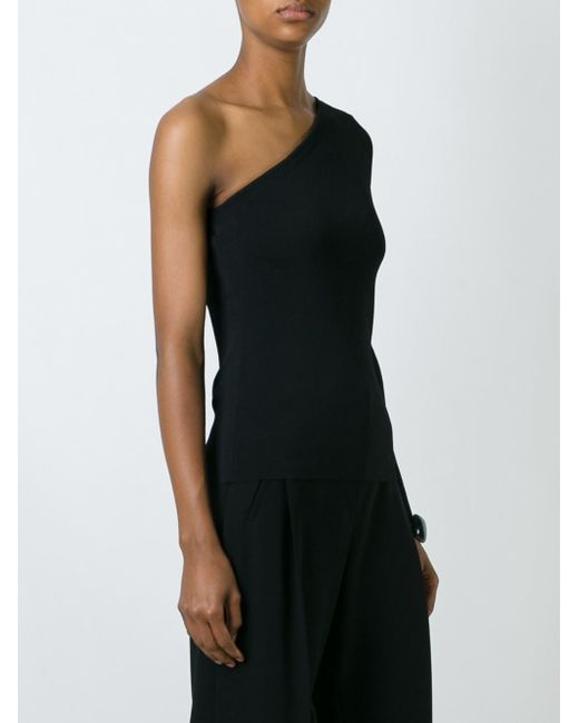 Theory One Shoulder Long Sleeve Top In Black Lyst