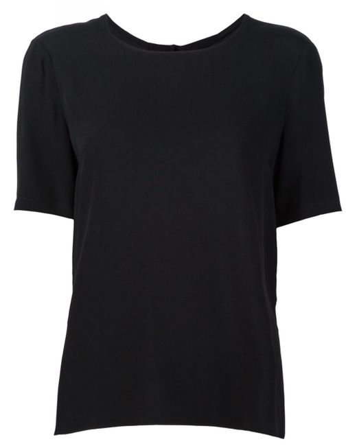 Adam lippes high low hem t shirt in black lyst for Adam lippes t shirt