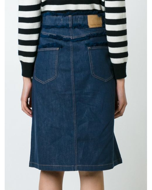 see by chlo 233 frayed edge denim skirt in blue lyst