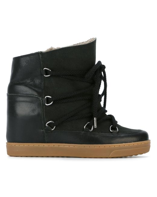 Isabel Marant | Black Nowles Leather Ankle Boots | Lyst