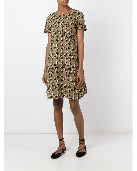 max mara studio geometric print dress in brown lyst. Black Bedroom Furniture Sets. Home Design Ideas