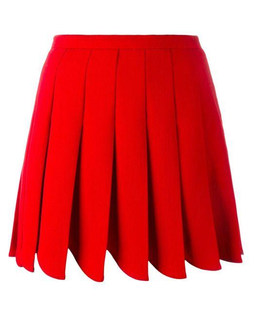 Miu Miu | Red Pleated Mini Skirt | Lyst