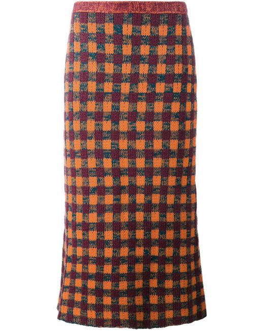 Miu Miu | Multicolor Checked Knitted Skirt | Lyst