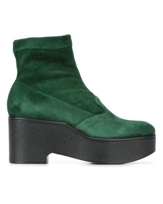 robert clergerie leather platform boots in green lyst