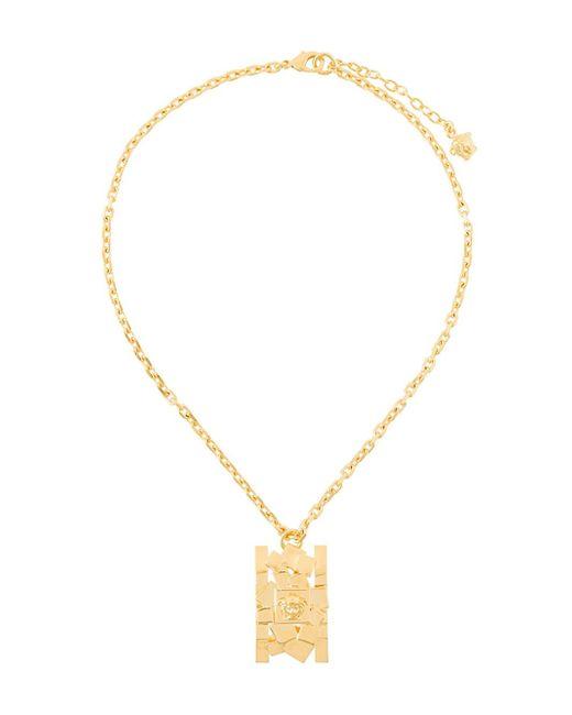 Versace | Metallic 'cubic Medusa' Pendant Necklace | Lyst