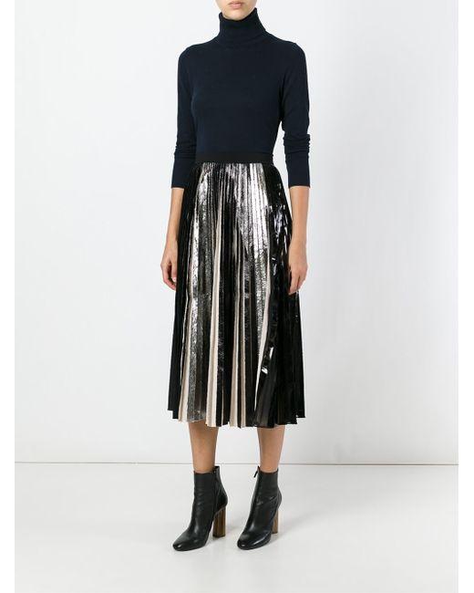 proenza schouler metallic pleated skirt in black lyst