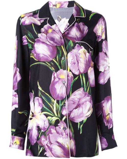 Dolce & Gabbana | Multicolor Printed Silk Blouse | Lyst