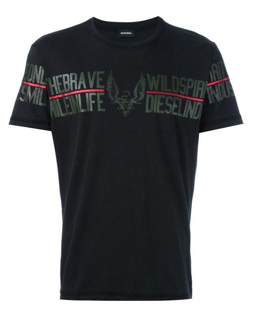 diesel logo print tshirt in black for men lyst