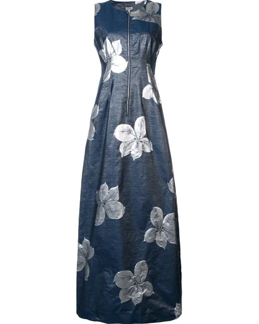 Suno | Gray Floral Jacquard Silk and Wool-Blend Zip Dress | Lyst