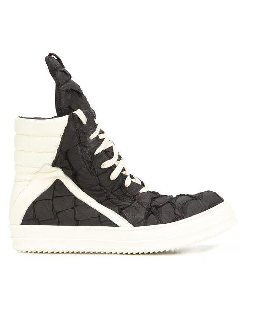 Rick Owens | Black Geobasket Pirarucu High-Top Sneakers for Men | Lyst