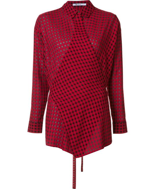 T by alexander wang checked wrap style shirt in red lyst for Wrap style t shirts