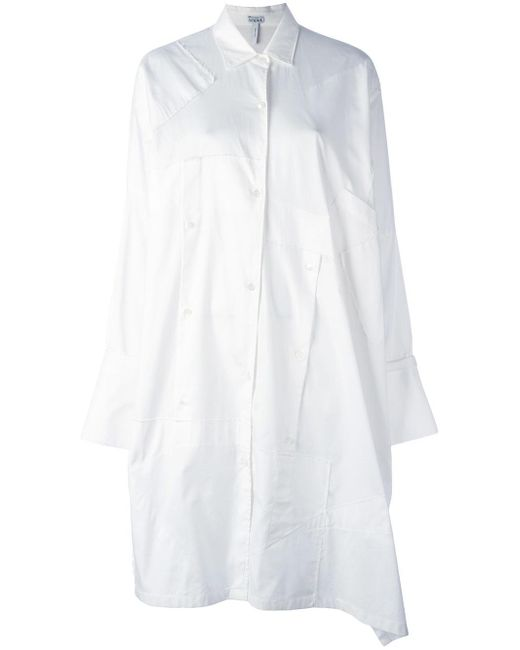 Loewe | White Patchwork Oversized Shirt Dress | Lyst
