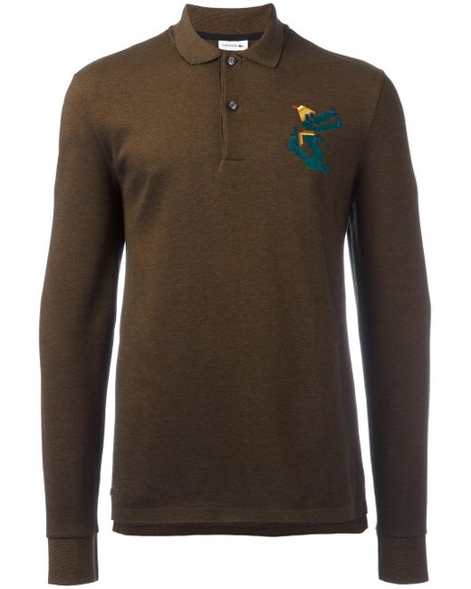 Lacoste Long Sleeve Polo Shirt In Brown For Men Lyst