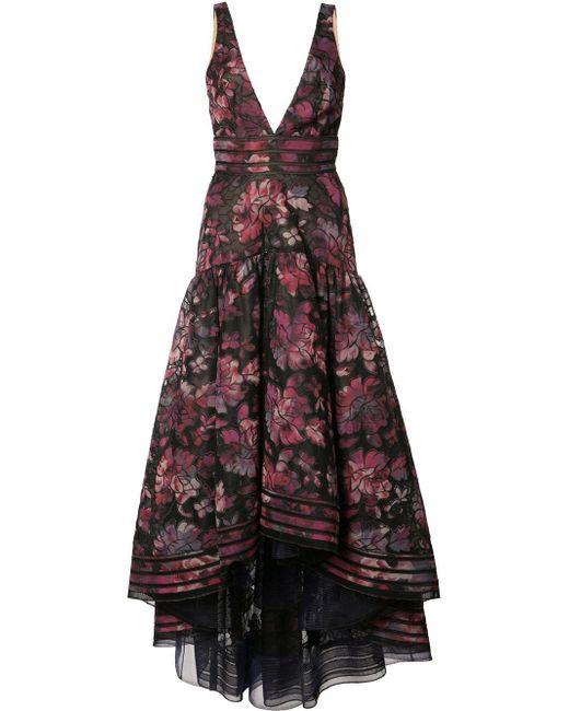 Notte by Marchesa | Multicolor Floral Print Cascading Dress | Lyst