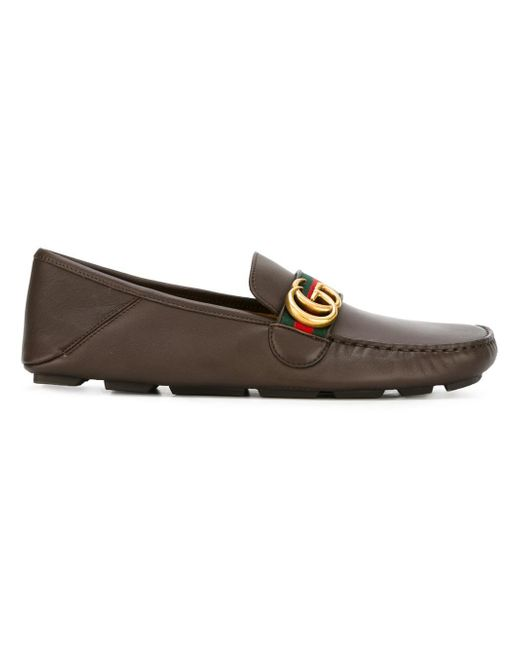 Gucci | Brown Web Gg Driving Loafers for Men | Lyst
