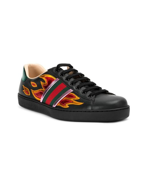 Gucci Ace Flame Sneakers In Black For Men Lyst