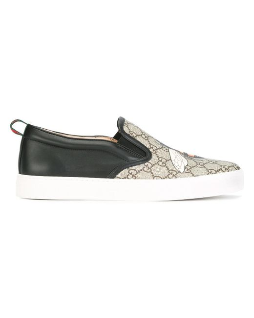 gucci gg supreme bee slip on trainers in black lyst. Black Bedroom Furniture Sets. Home Design Ideas