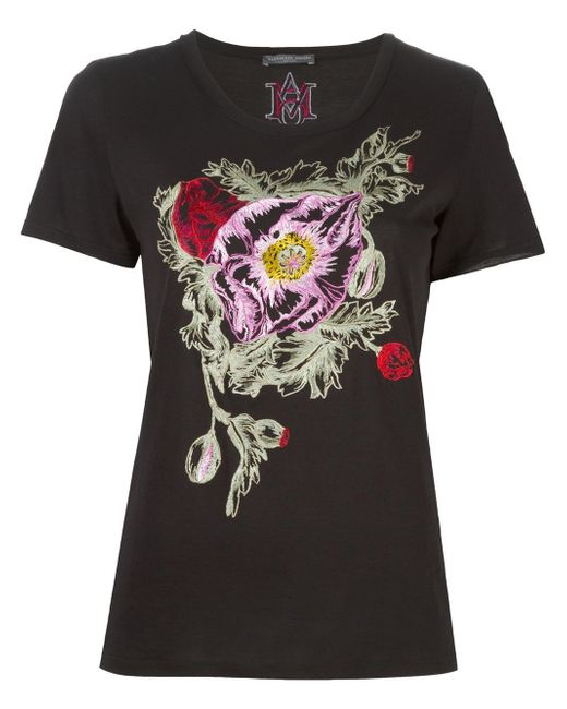 Alexander McQueen | Black Floral Embroidered T-shirt | Lyst