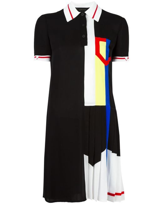 Versace | Black Pleated Ribbon Polo Dress | Lyst