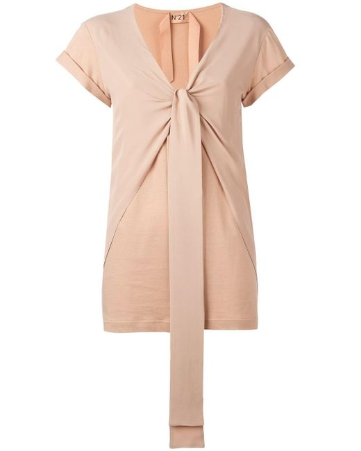 N°21   Pink Tie Knot T-shirt   Lyst