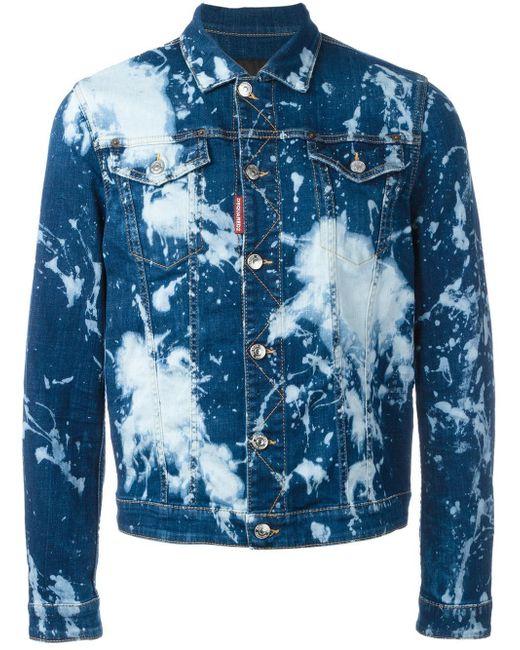 Dsquared² Bleached Splatter Denim Jacket In Blue For Men