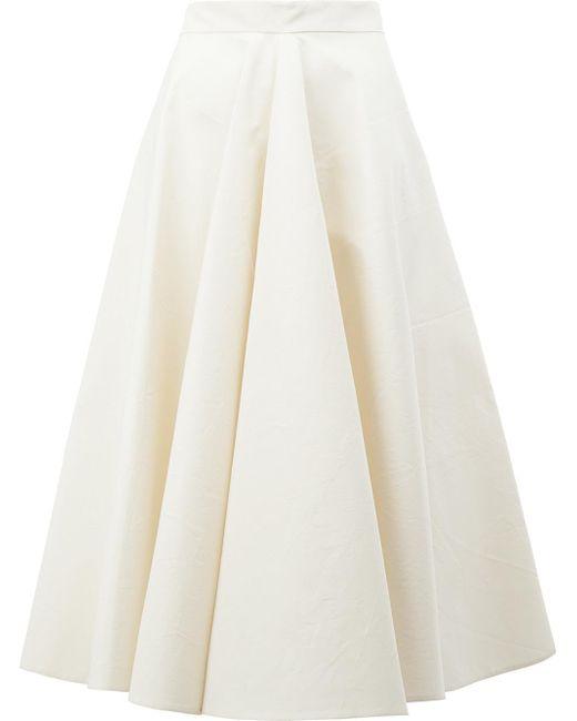 Maison Rabih Kayrouz | White Pleated Midi Skirt | Lyst