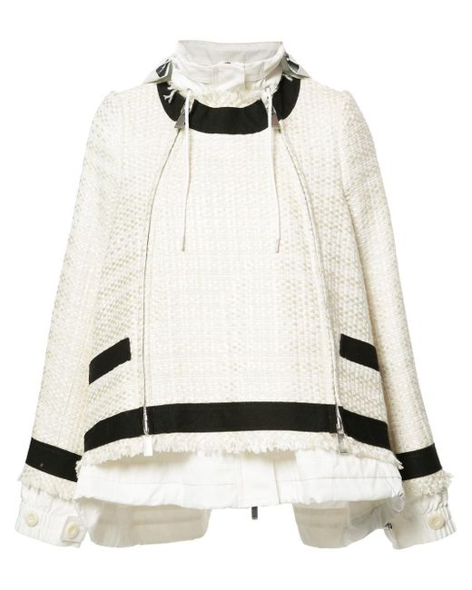 Sacai | White Drawstring Tweed Jacket | Lyst