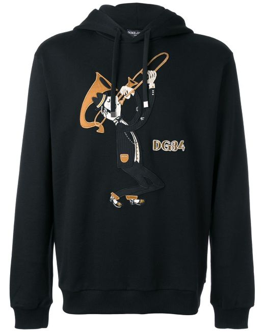 Dolce & Gabbana | Black Trombonist Patch Hoodie for Men | Lyst