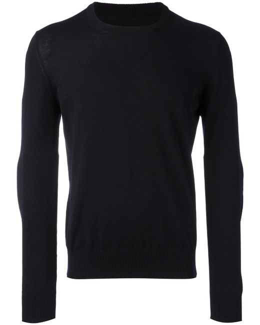 Maison Margiela | Blue Ribbed Elbow Patch Jumper for Men | Lyst