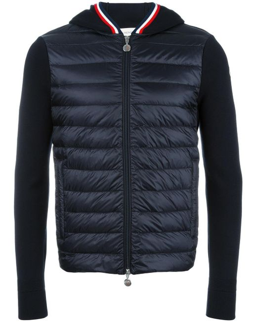 Moncler | Blue Knitted Sleeve Hoodie for Men | Lyst
