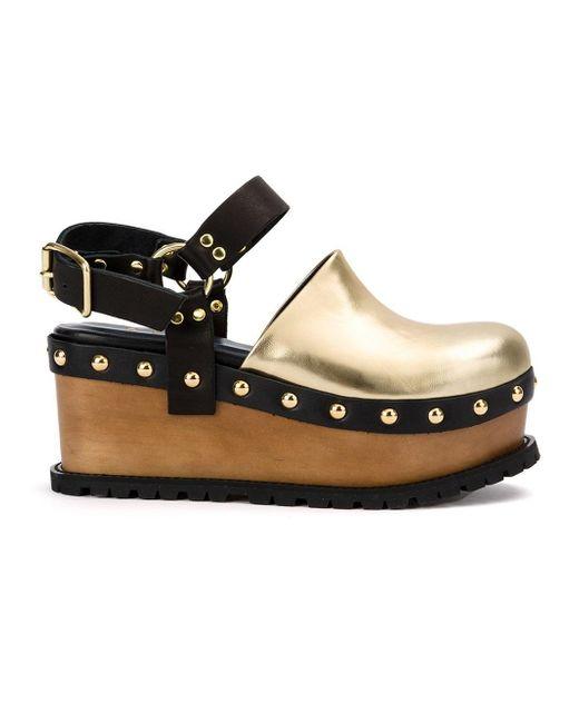 Sacai | Metallic Buckled Platform Clog Sandals | Lyst