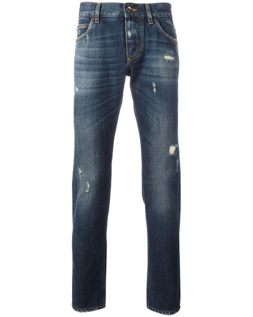 Dolce & Gabbana | Blue Ripped Detail Jeans for Men | Lyst