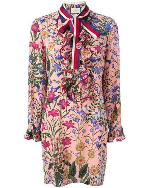 Gucci | Pink New Flora Print Dress | Lyst