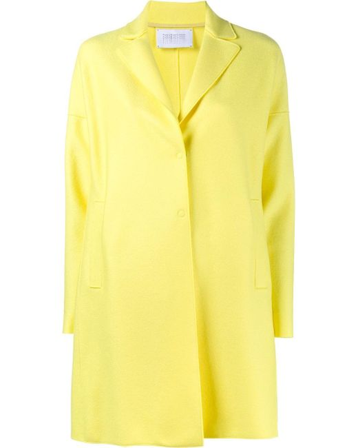 Harris Wharf London | Yellow Single Breasted Wool Cocoon Coat | Lyst